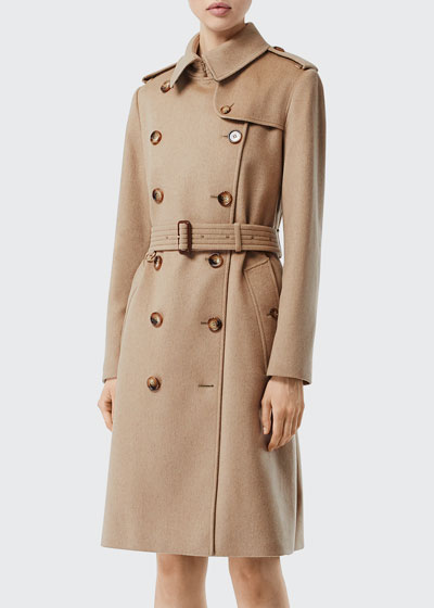 Cashmere Twill Double-Breasted Trench Coat