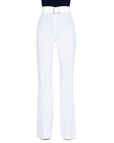 Wide-Leg Tricotine Pants, White