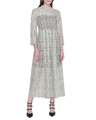 Embroidered Lace Bracelet-Sleeve Midi Dress