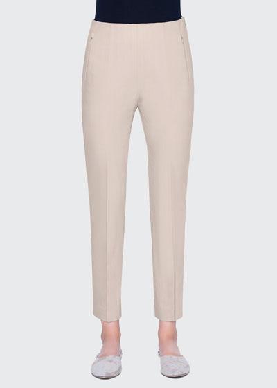 Conny Stretch Cotton Pants, Beige