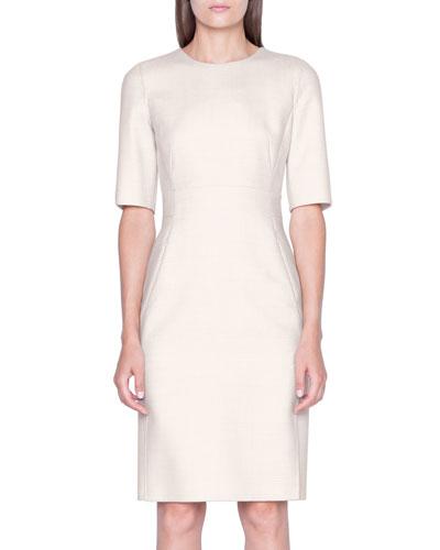 Checked Wool 1/2-Sleeve Dress