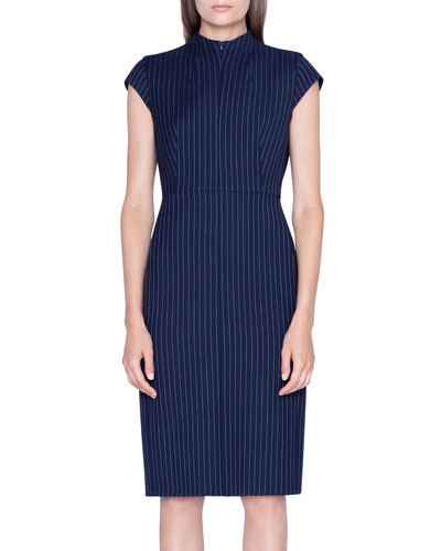 Pinstriped Wool Cap-Sleeve Dress