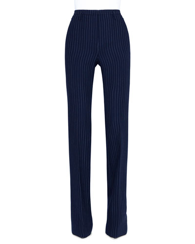 Farah Pinstriped Wool Straight-Leg Pants