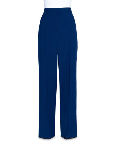 Wide-Leg Tricotine Pants, Navy