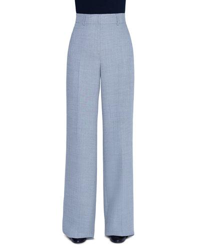 High-Waist Diagonal Double-Face Pants