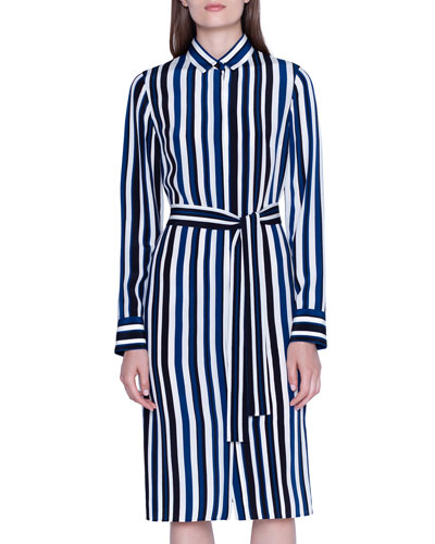 Spring Striped Silk Shantung Shirtdress