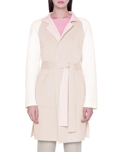 Colorblocked Cashmere Double-Face Wrap Coat