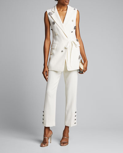 Crepe Crystal Button-Cuff Pants