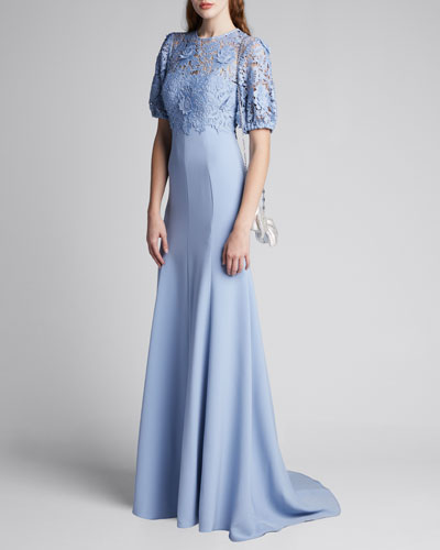 Guipure-Lace Bodice Gown