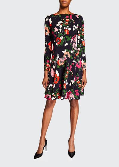 Floral-Print 3/4-Sleeve Dress