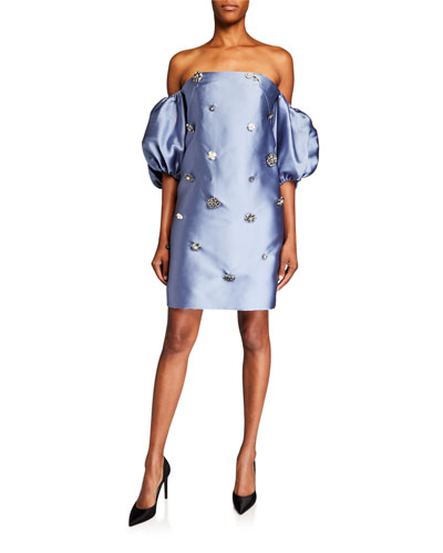 Crystal Button Off-the-Shoulder Mini Dress