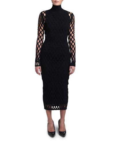 Open-Knit Long-Sleeve Bodycon Dress