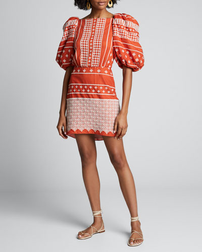 Himalayas Embroidered Puff-Sleeve Dress