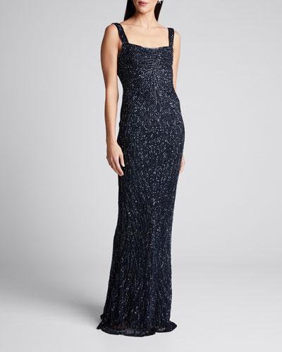 Embellished Square-Neck Low-Back Dress