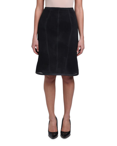 Micro-Mesh Lined Pencil Skirt