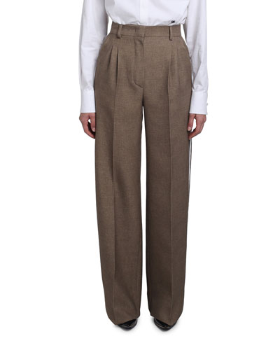 Wool-Silk Wide-Leg Pants w/ Leather Tuxedo Stripe