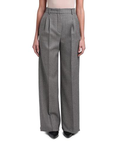 Pixel-Wool Wide-Leg Pants