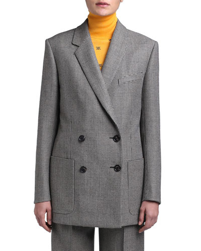 Pixel-Wool Double-Breasted Jacket