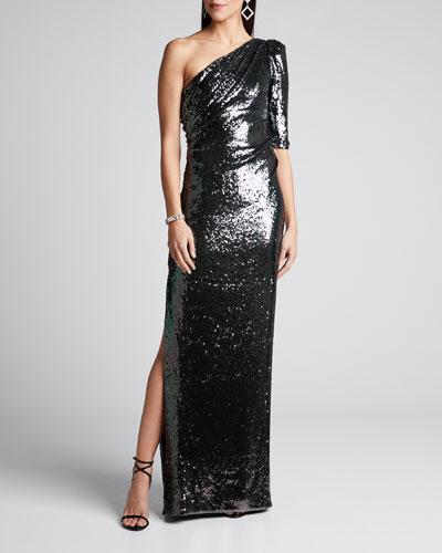 Liquid Draped Sequin Gown