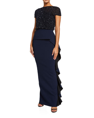 Embellished Bodice Crepe Skirt Gown