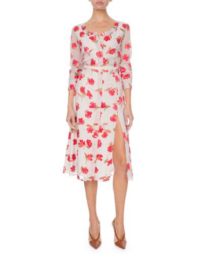 Long-Sleeve Floral V-Neck Dress