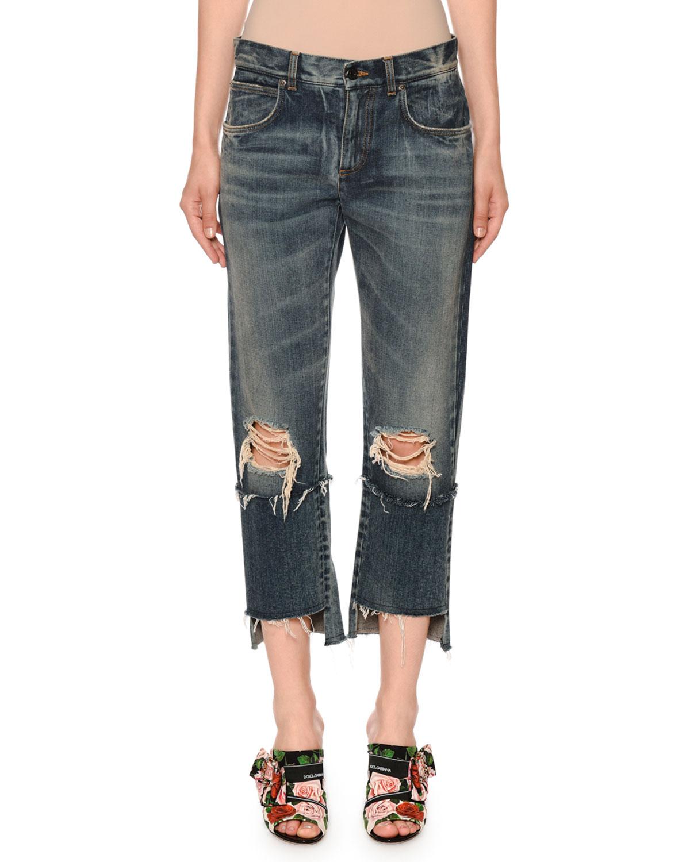 Dolce & Gabbana Jeans MID-RISE RIPPED BOYFRIEND-FIT CROP JEANS