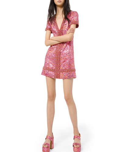 Graphic Metallic Brocade Jeweled V-Neck Dress