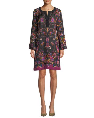 Long-Sleeve Floral-Matelasse Caftan Dress