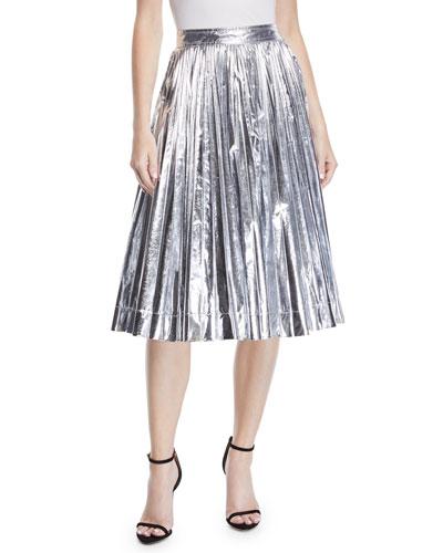 High-Waist Pleated Flare Knee-Length Skirt
