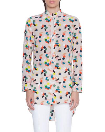 Silk Mini Stand-Collar Tunic Blouse
