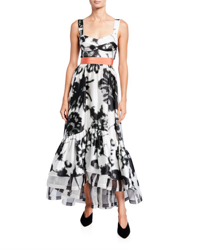 Elvira Floral-Print Silk Dress