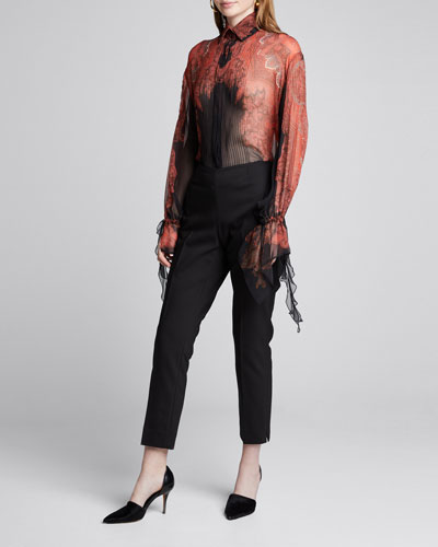 Silk Button-Front Blouse