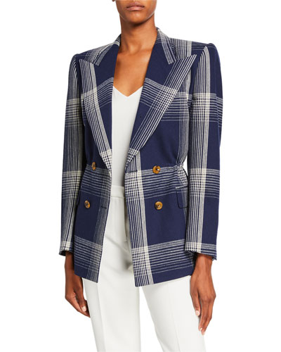 Checked Wool Cinched-Waist Jacket