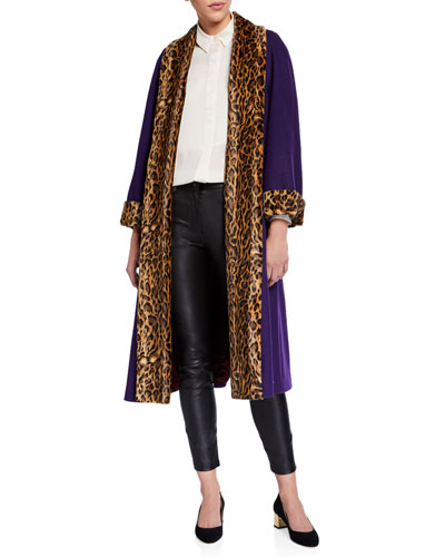 Military Cloth Leopard-Trim Coat