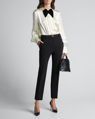 Long-Sleeve Satin Blouse With Velvet Bow-Tie