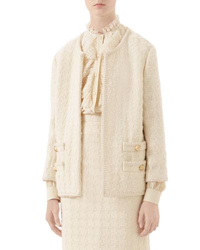 Houndstooth Tweed Jacket