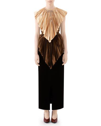 Colorblock Plisse Cape Dress