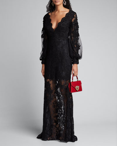 Embroidered Lace Balloon-Sleeve Illusion Gown