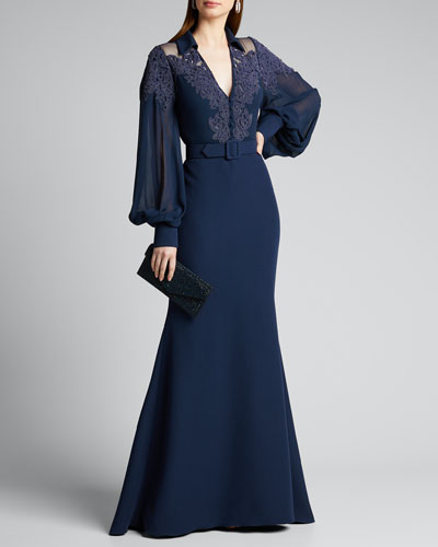 Lace Embroidered Trumpet Shirt Gown w/ Belt