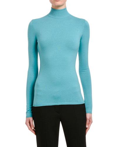 Kipur Wool Turtleneck Sweater, Turquoise