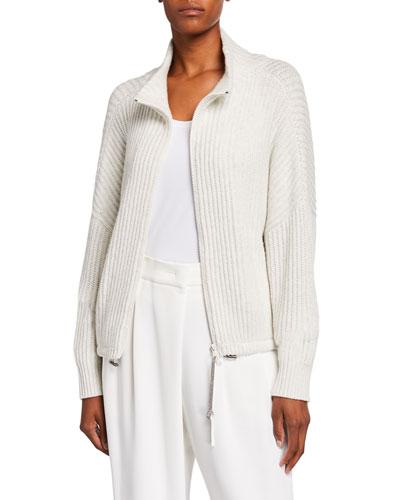 Cashmere Sparkle Zip-Front Sweater