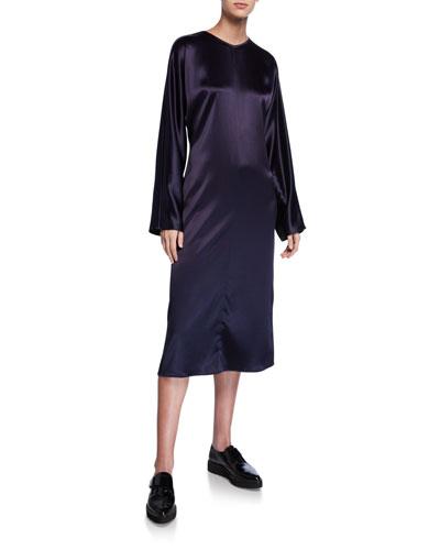 Charmeuse Long-Sleeve Dress