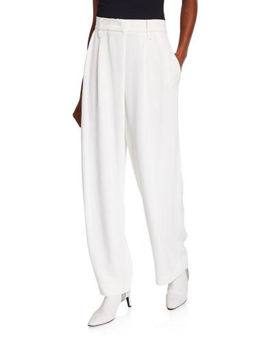 Pleated Crepe Cady Pants