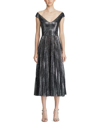 Fonda Metallic Glen-Plaid Dress