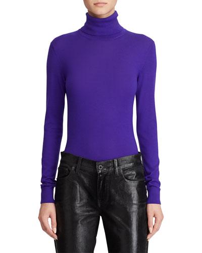 Cashmere Jersey Turtleneck Sweater, Purple