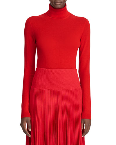 Cashmere Jersey Turtleneck Sweater, Red