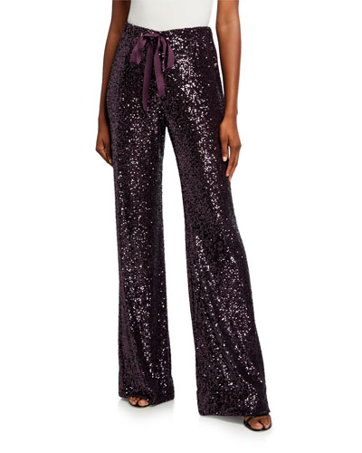 Sequined Drawstring Wide-Leg Pants, Amethyst