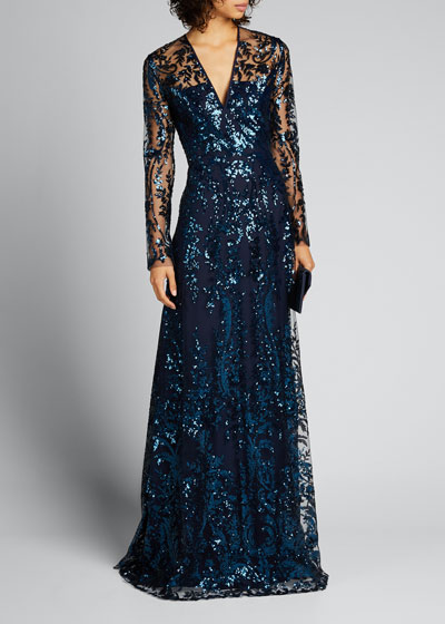 Sequin Embroidered V-Neck Gown