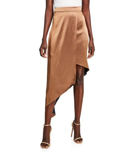 High-Rise Satin Asymmetric Skirt