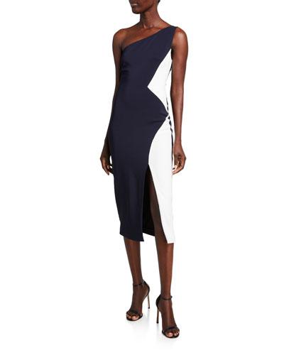 Colorblock Cady One-Shoulder Dress